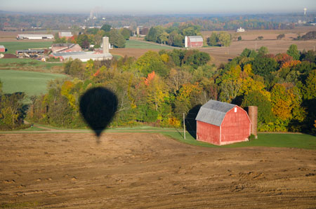 Barn with Hot Air Balloon shadow