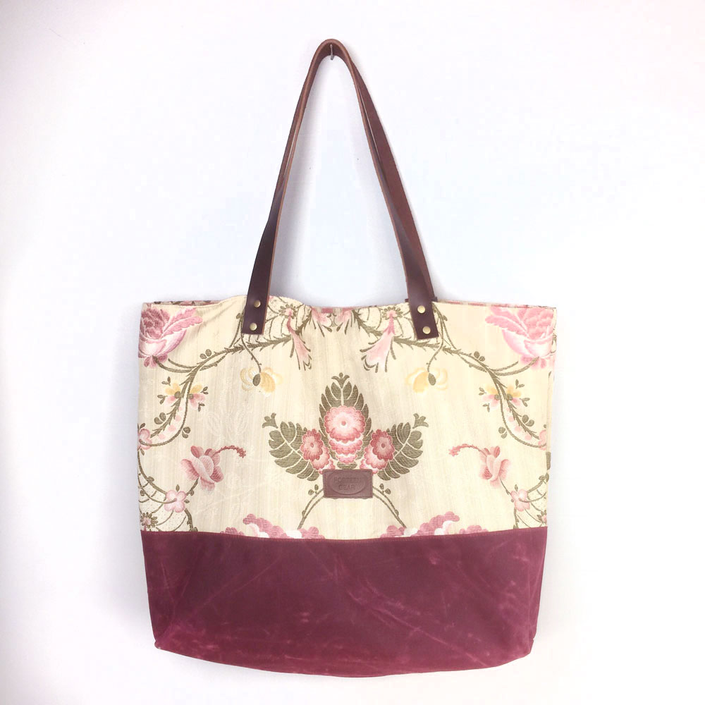 Handmade Tote Bag Market Bag Creme And Pink Flower Waxed Canvas