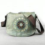 Medium Blue Floral Leather Camera Satchel Bag DSLR- IN-STOCK