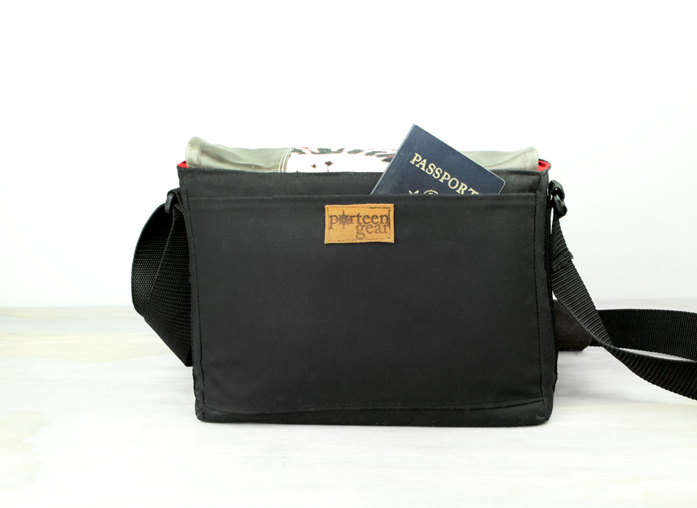 Handmade Medium Leather Camera Satchel Bag Red Black Floral DSLR- PRE-ORDER - Porteen Gear