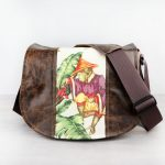 Medium Monkey Fabric Brown Leather Satchel Bag DSLR- IN-STOCK