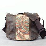 Medium Tan Floral Distressed Brown Leather Satchel Bag DSLR- IN-STOCK