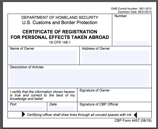 Do i need a us customs form 4457 when traveling abroad porteen gear do i need a us customs form 4457 when traveling abroad thecheapjerseys Images
