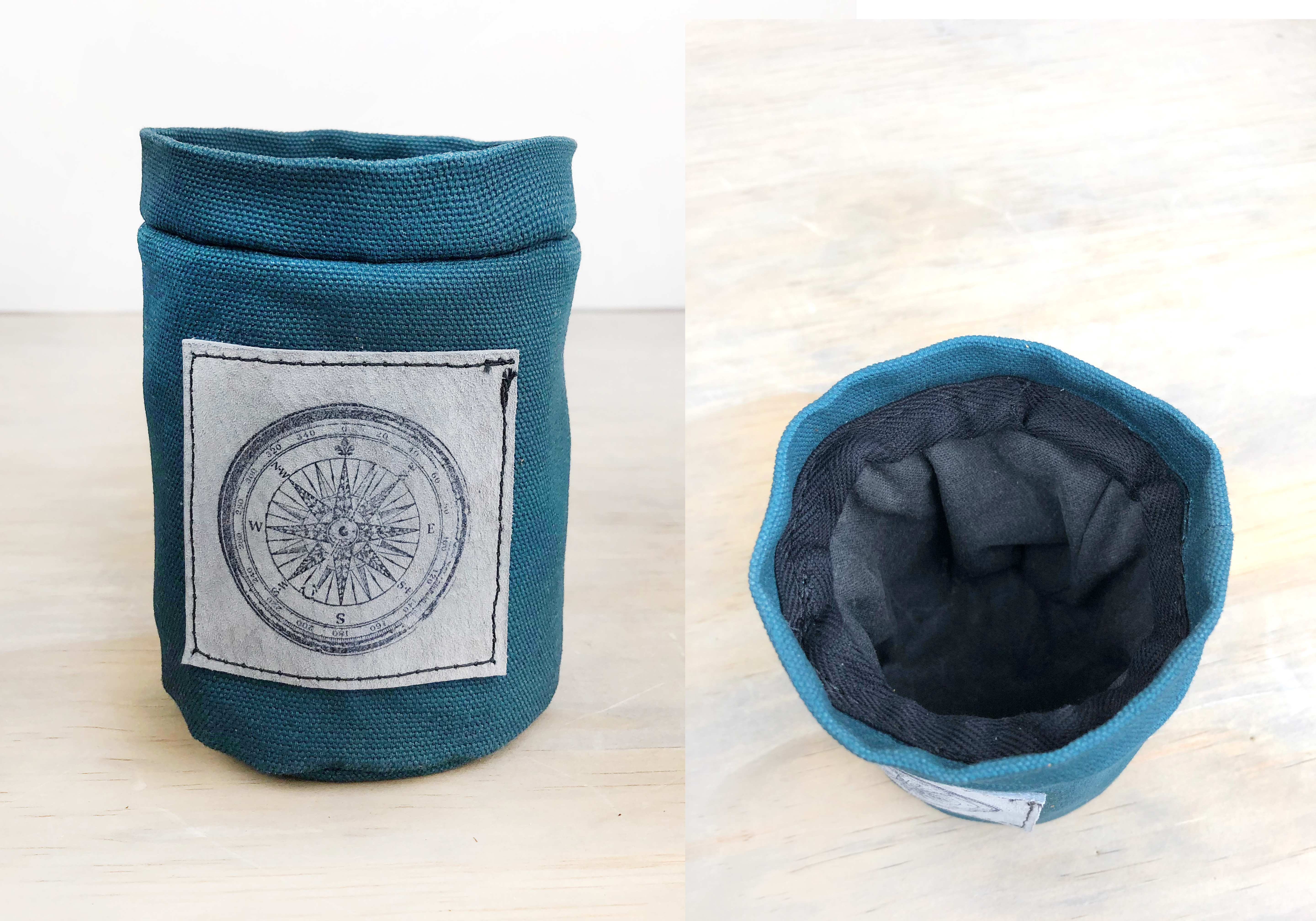 Waxed Canvas Drink Koozie Holder Wool Lined Can Bottle Teal Black Olive Cozie Gift Leather